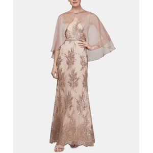 SLNY Womens 6 Tan Sequin Chiffon 2Pc Gown NWT CJ28